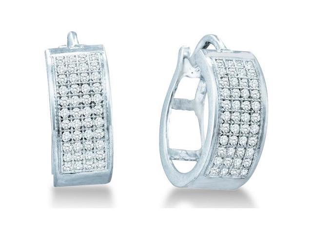 .925 Sterling Silver Plated in White Gold Rhodium Micro Pave Set Round Diamond Hoop Earrings with Hinge Closure - (1/4 cttw, G - H Color, SI2 Clarity)
