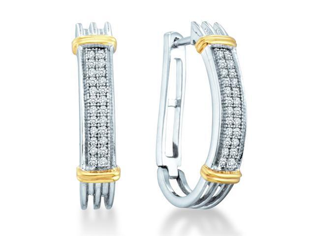 .925 Sterling Silver Plated in White Gold Rhodium White and Yellow Two Tone Gold Micro Pave Set Round Diamond U Shape Hoop Earrings  - (.15 cttw, G - H Color, SI2 Clarity)