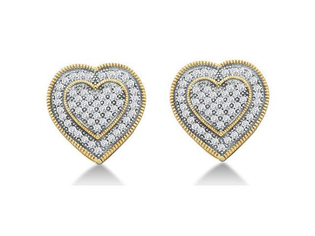 10K Yellow and White Two Tone Gold Micro Pave Set Round Diamond Heart Stud Earrings  - (1/3 cttw, G - H Color, SI2 Clarity)