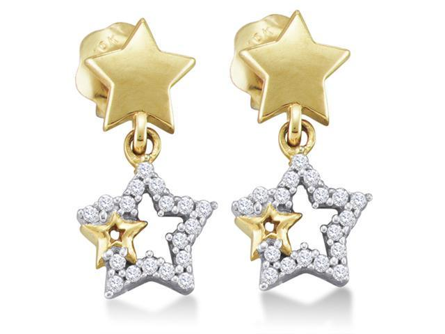 10K Yellow and White Two Tone Gold Channel Set Round Diamond Stars Dangle Earrings with Screw Back Closure - (1/10 cttw, G - H Color, SI2 Clarity)