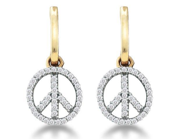 10K Yellow and White Two Tone Gold Channel Set Round Diamond Peace Sign Dangle Earrings  - (1/4 cttw, G - H Color, SI2 Clarity)
