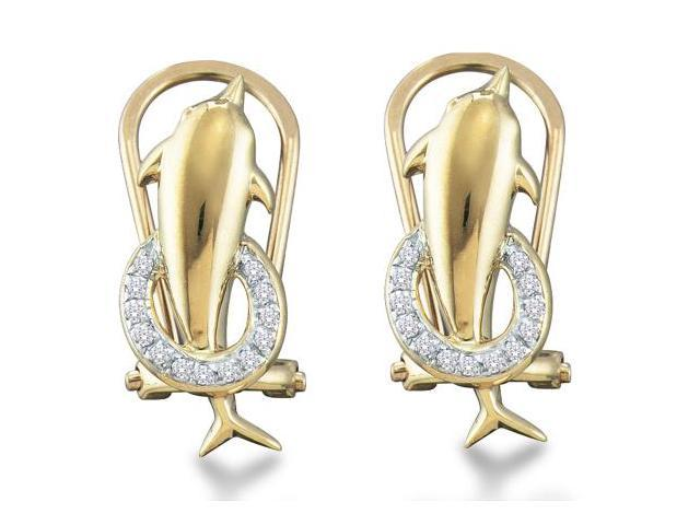 10K Yellow and White Two Tone Gold Channel Set Round Diamond Dolphin Hoop Earrings  - (.08 cttw, G - H Color, SI2 Clarity)