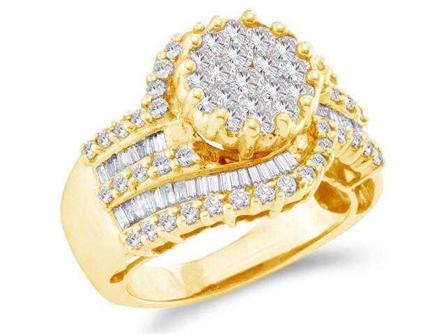 14K Yellow Gold Large Diamond Engagement Ring - Large Round Shape Flower Center Setting w/ Invisible Channel Set Round & Baguette Diamonds - (1.80 cttw, G - H Color, SI2 Clarity)