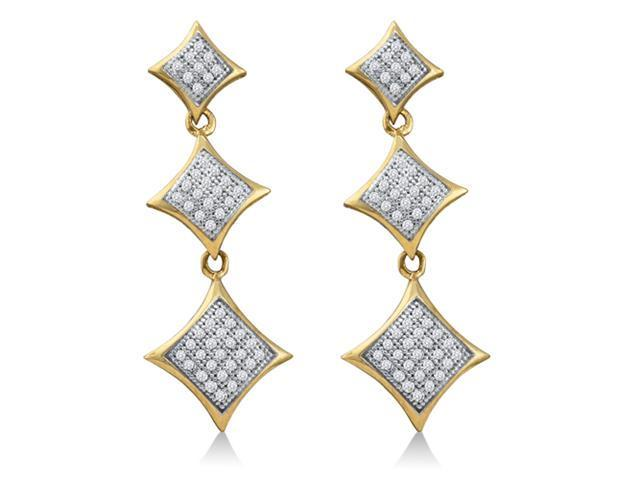 10K Yellow and White Two Tone Gold Micro Pave Set Round Diamond Square Shape Dangle Earrings  - (.30 cttw, G - H Color, SI2 Clarity)