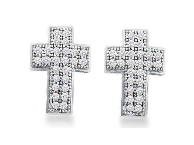 10k White Gold Micro Pave Set Round Diamond Cross Stud Earrings  - (.15 cttw, G - H Color, SI2 Clarity)