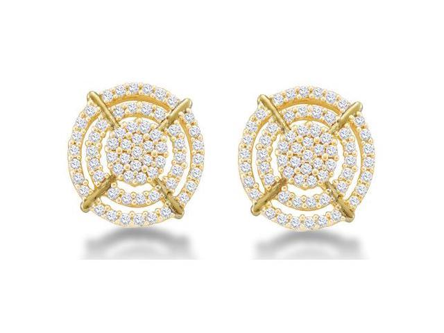 10K Yellow Gold Channel Set Round Diamond Flower Stud Earrings  - (2/5 cttw, G - H Color, SI2 Clarity)