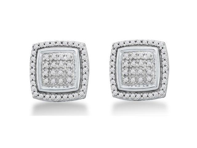 10k White Gold Micro Pave Set Round Diamond Square Shape Setting Stud Earrings  - (.28 cttw, G - H Color, SI2 Clarity)