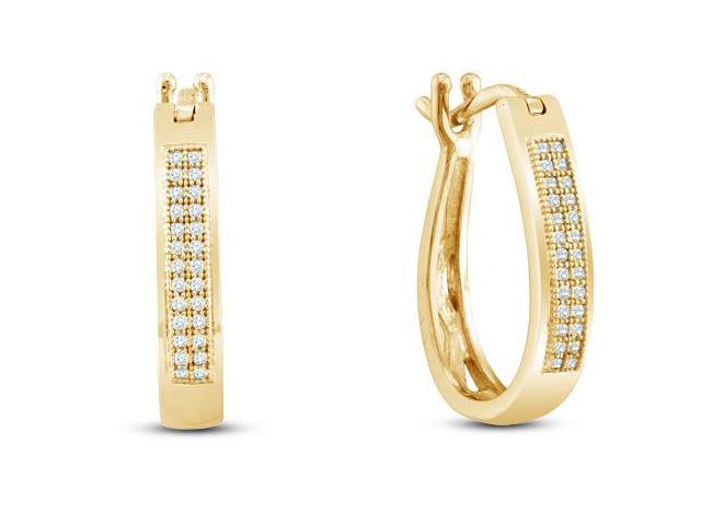 10K Yellow Gold Micro Pave Set Round Diamond U Shape Hoop Earrings with Push Back Closure - (.15 cttw, G - H Color, SI2 Clarity)
