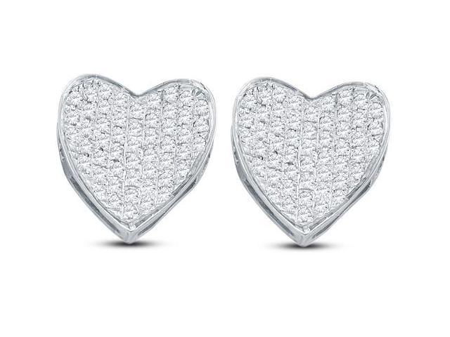 10k White Gold Micro Pave Set Round Diamond Heart Stud Earrings  - (1/3 cttw, G - H Color, SI2 Clarity)