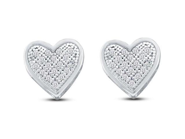 10K White Gold Micro Pave Set Round Diamond Heart Stud Earrings  - (1/10 cttw, G - H Color, SI2 Clarity)