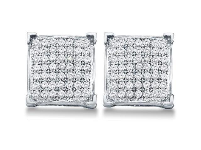 10k White Gold Micro Pave Set Round Diamond Square Shape Setting Stud Earrings  - (1/3 cttw, G - H Color, SI2 Clarity)