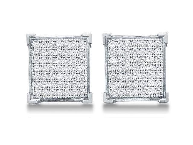 10k White Gold Micro Pave Set Round Diamond Square Shape Setting Stud Earring