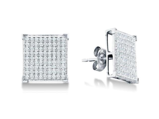 10k White Gold Micro Pave Set Round Diamond Square Shape Setting Stud Earrings with Push Back Closure - (1/2 cttw, G - H Color, SI2 Clarity)