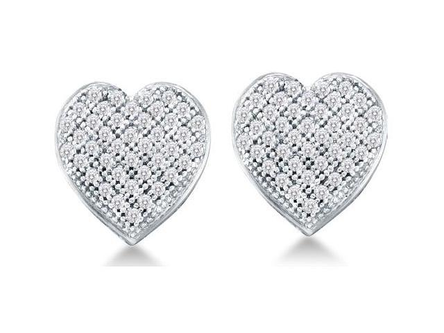 10k White Gold Micro Pave Set Round Diamond Heart Stud Earrings  - (1/4 cttw, G - H Color, SI2 Clarity)