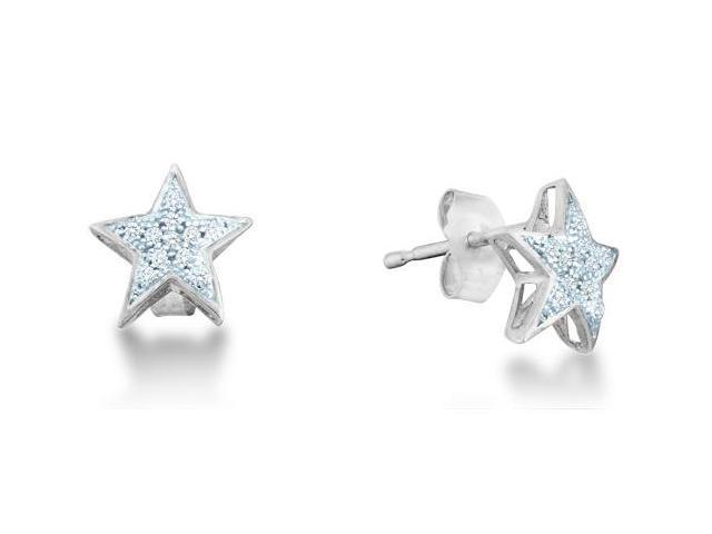 10k White Gold Micro Pave Set Round Diamond Stars Stud Earrings with Push Back Closure - (1/20 cttw, G - H Color, SI2 Clarity)