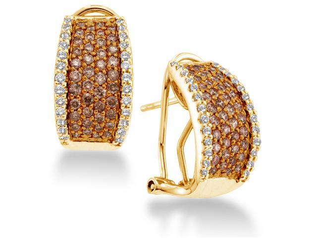 14K Yellow Gold Large Channel Set Round Chocolate Brown and White Diamond Hoop Earrings  - (Height = 18mm ; Width = 9mm) - (1.51 cttw, G - H Color, SI2 Clarity)