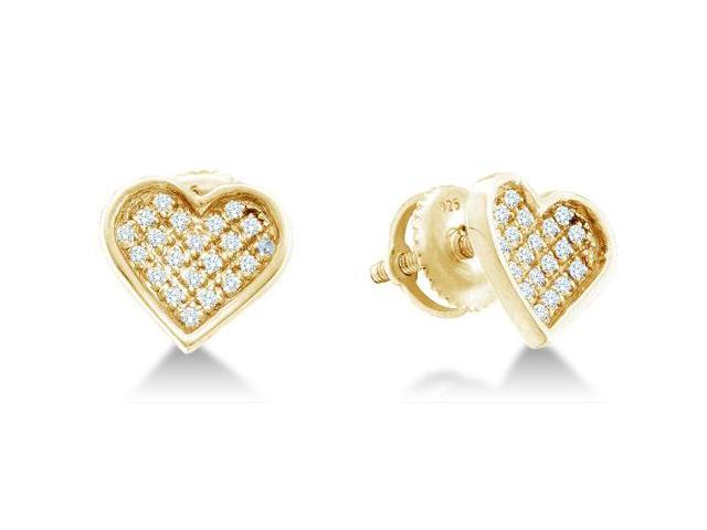 .925 Sterling Silver Plated in Yellow Gold Micro Pave Set Round Diamond Heart Stud Earrings with Screw Back Closure - (1/20 cttw, G - H Color, SI2 Clarity)