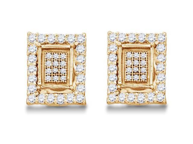 .925 Sterling Silver Plated in Yellow Gold Micro Pave & Channel Set Round Diamond Square Shape Setting Stud Earrings  - (.55 cttw, G - H Color, SI2 Clarity)