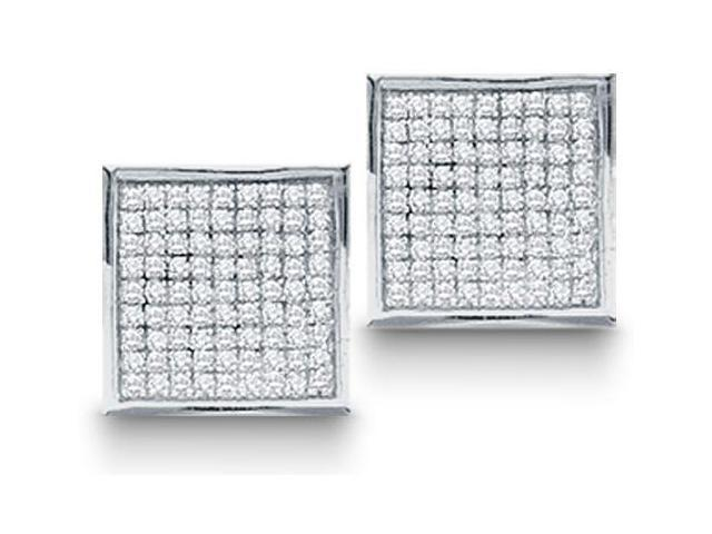 10K White Gold Micro Pave Set Round Diamond Square Shape Setting Stud Earrings  - (1/20 cttw, G - H Color, SI2 Clarity)