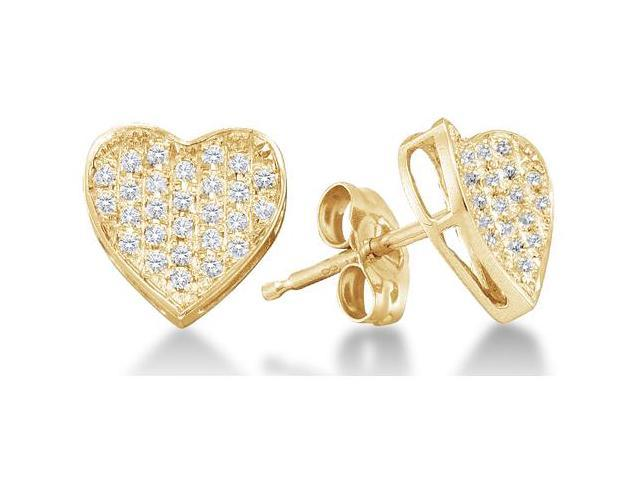 10K Yellow Gold Channel Set Round Diamond Heart Stud Earrings with Push Back Closure - (1/5 cttw, G - H Color, SI2 Clarity)