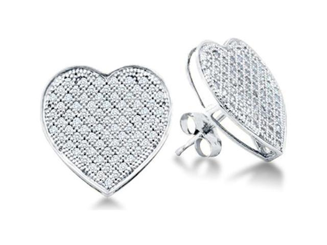 10k White Gold Micro Pave Set Round Diamond Heart Stud Earrings with Push Back Closure - (1/20 cttw, G - H Color, SI2 Clarity)