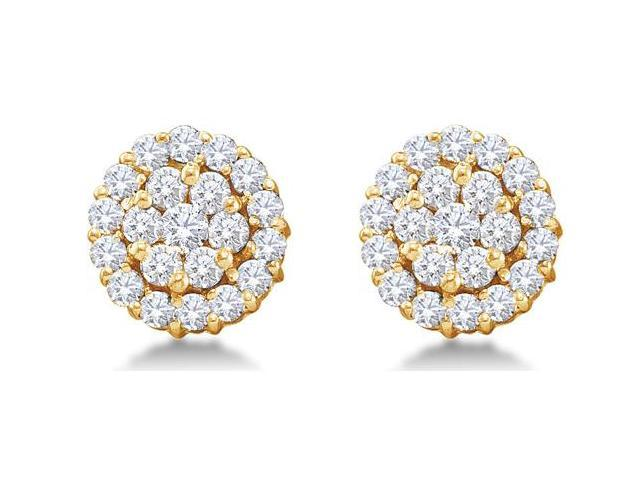 14K Yellow Gold Large Channel Invisible Set Round Diamond Flower Stud Earrings with Screw Back Closure - (1.50 cttw, G - H Color, SI2 Clarity)