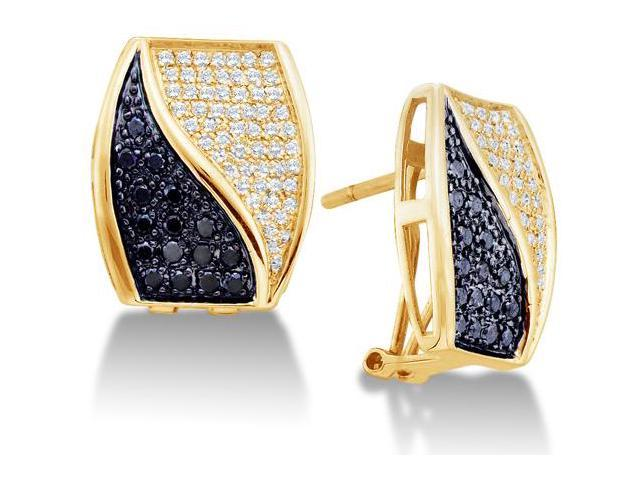 14K Yellow Gold Large Micro Pave Set Round White and Black Diamond Square Shape Setting Hoop Earrings  - (1.00 cttw, G - H Color, SI2 Clarity)