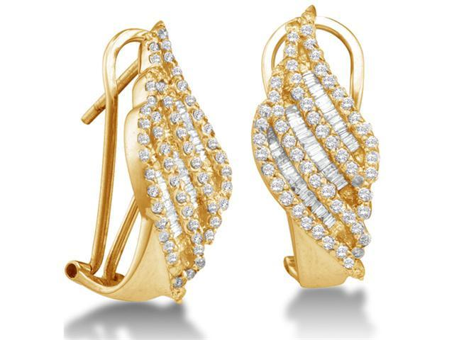 14K Yellow Gold Large Channel Invisible Set Round & Diamond Hoop Earrings  - (1.35 cttw, G - H Color, SI2 Clarity)