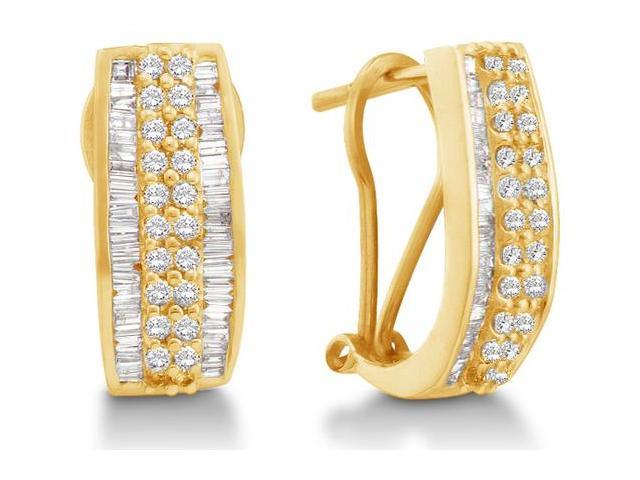 14K Yellow Gold Channel Invisible Set Round Diamond U Shape Hoop Earrings  - (.85 cttw, G - H Color, SI2 Clarity)