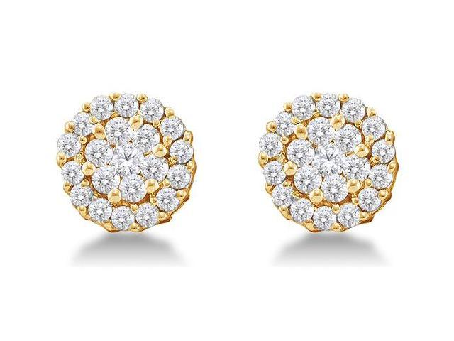 14K Yellow Gold Channel Invisible Set Round Diamond Flower Stud Earrings  - (3/4 cttw, G - H Color, SI2 Clarity)