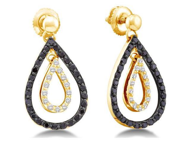 14K Yellow Gold Channel Set Round White and Black Diamond Pear Shape Dangle Earrings with Screw Back Closure - (.78 cttw, G - H Color, SI2 Clarity)