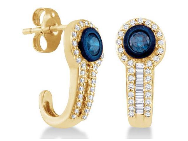 10K Yellow Gold Channel Invisible Set Round & White and Blue Diamond Stud Earrings with Push Back Closure - (2/3 cttw, G - H Color, SI2 Clarity)