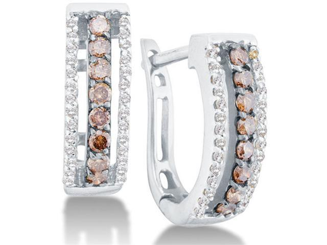 14K White Gold Channel Set Round White and Chocolate Brown Diamond U Shape Hoop Earrings  - (.48 cttw, G - H Color, SI2 Clarity)
