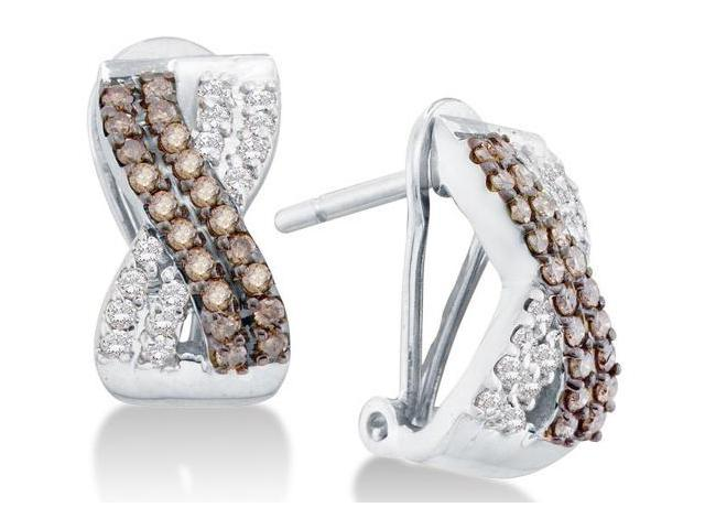 14K White Gold Channel Set Round White and Chocolate Brown Diamond Cross Over Hoop Earrings  - (.53 cttw, G - H Color, SI2 Clarity)