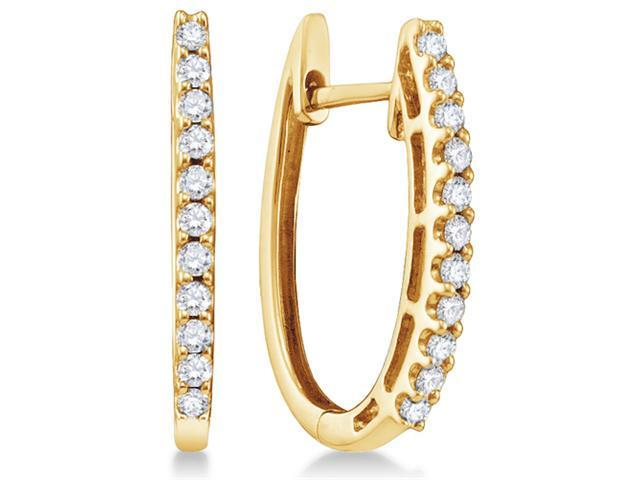 14K Yellow Gold Channel Set Round Diamond U Shape Hoop Earrings  - (1/4 cttw, G - H Color, SI2 Clarity)