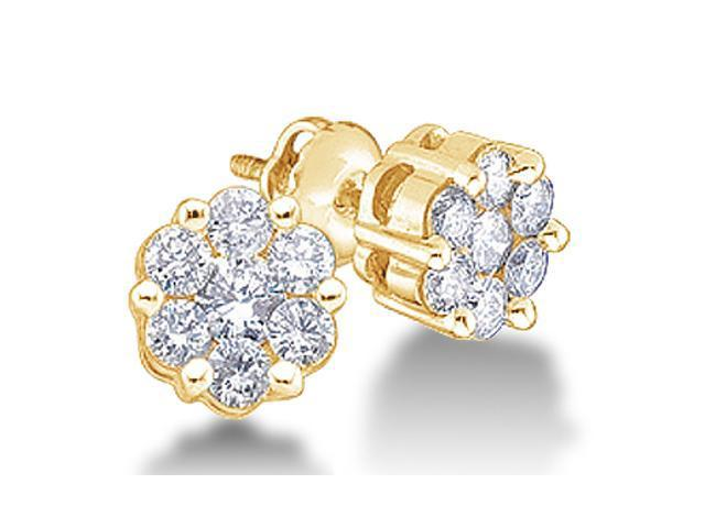 10K Yellow Gold Channel Invisible Set Round Diamond Flower Stud Earrings with Screw Back Closure - (.15 cttw, G - H Color, SI2 Clarity)