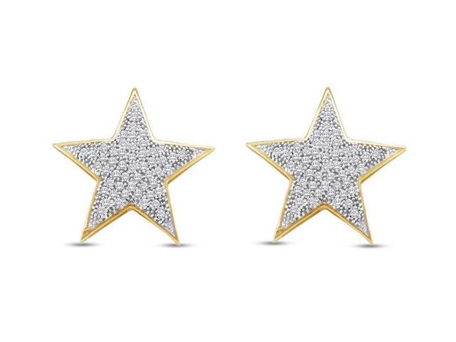 10K Yellow and White Two Tone Gold Micro Pave Set Round Diamond Stars Stud Earrings  - (1/4 cttw, G - H Color, SI2 Clarity)