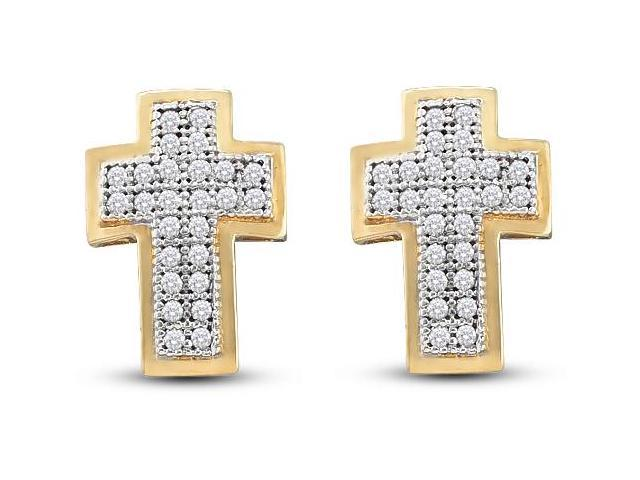 10K Yellow Gold Micro Pave Set Round Diamond Cross Stud Earrings  - (.15 cttw, G - H Color, SI2 Clarity)
