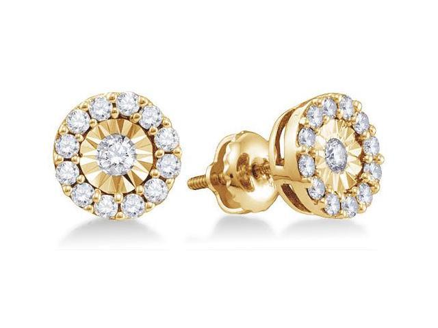 10K Yellow Gold Channel Pave Set Round Diamond Circle Halo Stud Earrings with Screw Back Closure - (.30 cttw, G - H Color, SI2 Clarity)