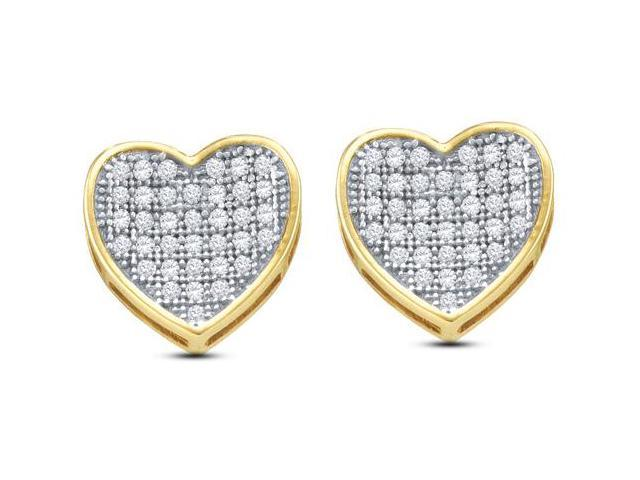10K Yellow and White Two Tone Gold Micro Pave Set Round Diamond Heart Stud Earrings  - (1/4 cttw, G - H Color, SI2 Clarity)