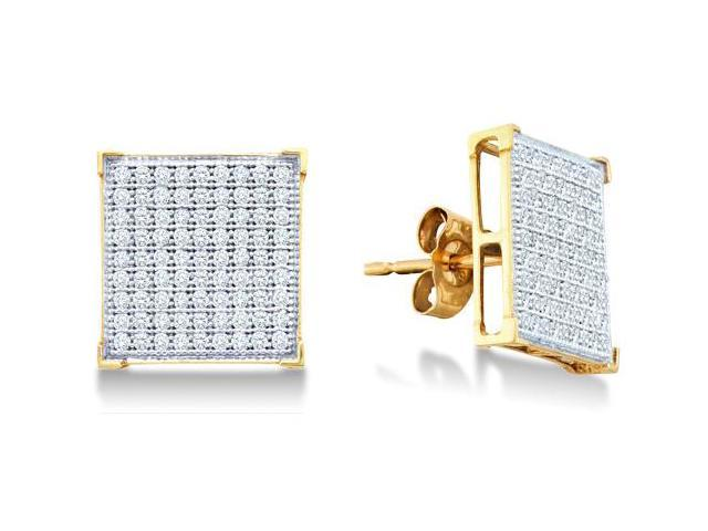 10K Yellow and White Two Tone Gold Micro Pave Set Round Diamond Square Shape Setting Stud Earrings with Push Back Closure - (1/2 cttw, G - H Color, SI2 Clarity)