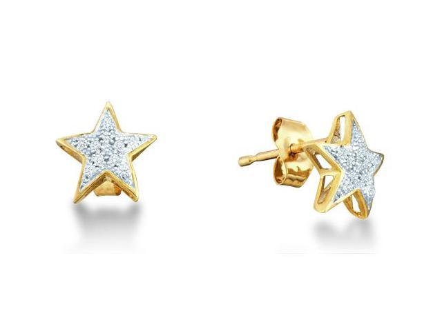 10K Yellow and White Two Tone Gold Micro Pave Set Round Diamond Stars Stud Earrings with Push Back Closure - (1/20 cttw, G - H Color, SI2 Clarity)