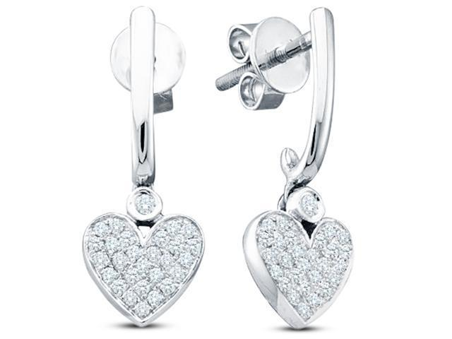 10K White Gold Channel Pave Set Round Diamond Heart Dangle Earrings with Screw Back Closure - (Height = 2mm ; Width = 8mm) - (1/4 cttw, G - H Color, SI2 Clarity)