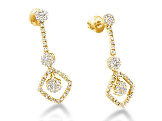 14K White Gold Channel Invisible Set Round Diamond Flower Dangle Earrings with Screw Back Closure - (Height = 3mm ; Width = 11mm) - (3/4 cttw, G - H Color, SI2 Clarity)