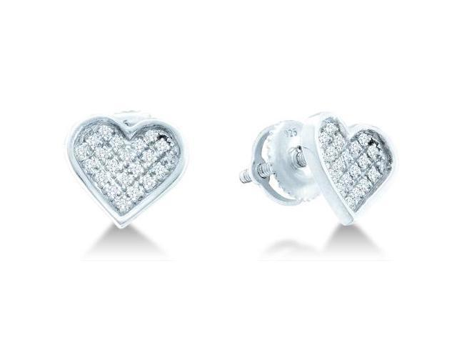 .925 Sterling Silver Plated in White Gold Rhodium Micro Pave Set Round Diamond Heart Stud Earrings with Screw Back Closure - (1/20 cttw, G - H Color, SI2 Clarity)