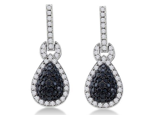 14K White Gold Large Micro Pave Set Round White and Black Diamond Pear Shape Dangle Earrings  - (1.80 cttw, G - H Color, SI2 Clarity)
