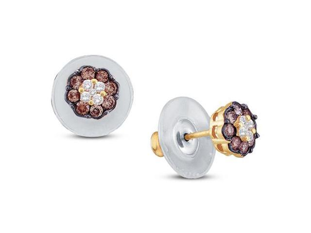 14K Yellow Gold Large Channel Set Round White and Chocolate Brown Diamond Flower Stud Earrings with Push Back Closure - (1.00 cttw, G - H Color, SI2 Clarity)