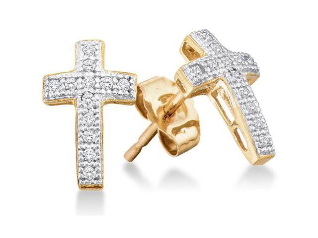 10K Yellow and White Two Tone Gold Micro Pave Set Round Diamond Cross Stud Earrings with Push Back Closure - (1/10 cttw, G - H Color, SI2 Clarity)