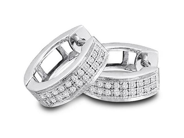 10K White Gold Micro Pave Set Round Diamond Round Circle Hoop Earrings with Push Back Closure - (.15 cttw, G - H Color, SI2 Clarity)