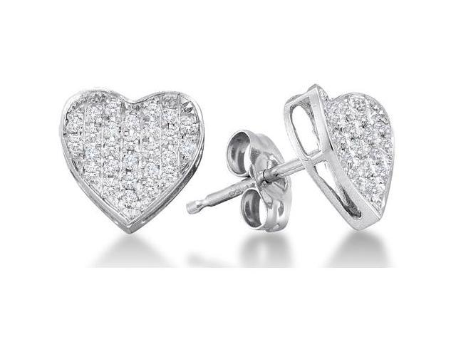 10K White Gold Channel Set Round Diamond Heart Stud Earrings with Push Back Closure - (1/5 cttw, G - H Color, SI2 Clarity)